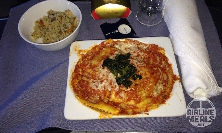 raviolis épinards United Airlines