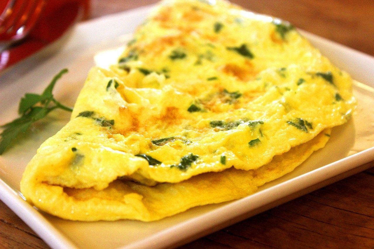 omelette d'epinards et Cheddar