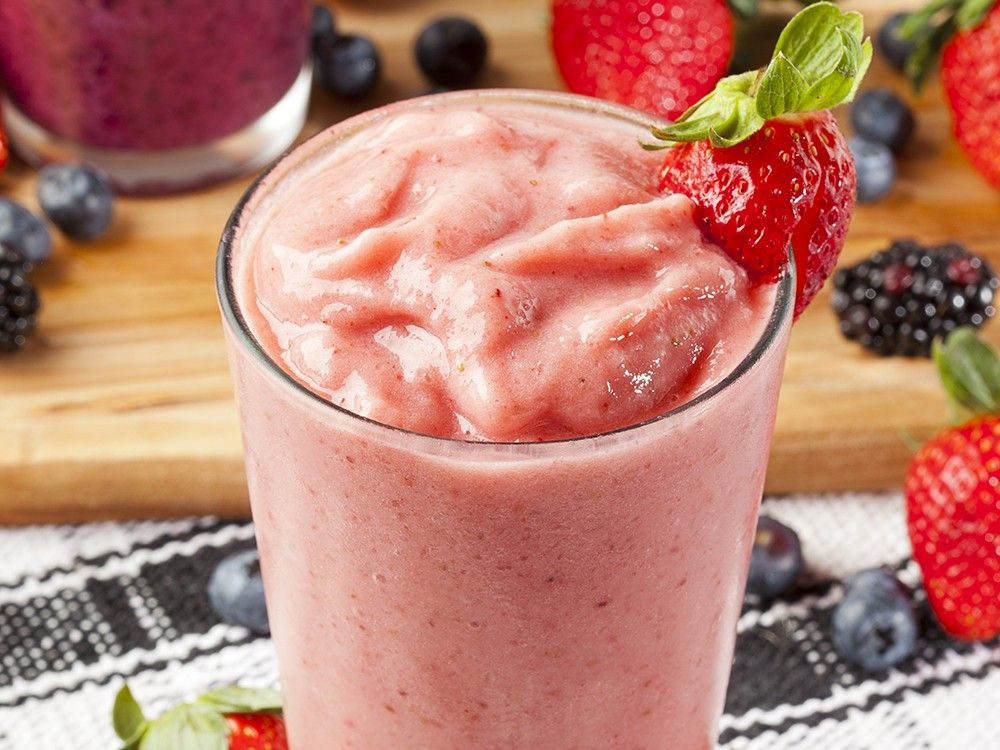 Organic Strawberry Smoothie made with fresh Ingredients
