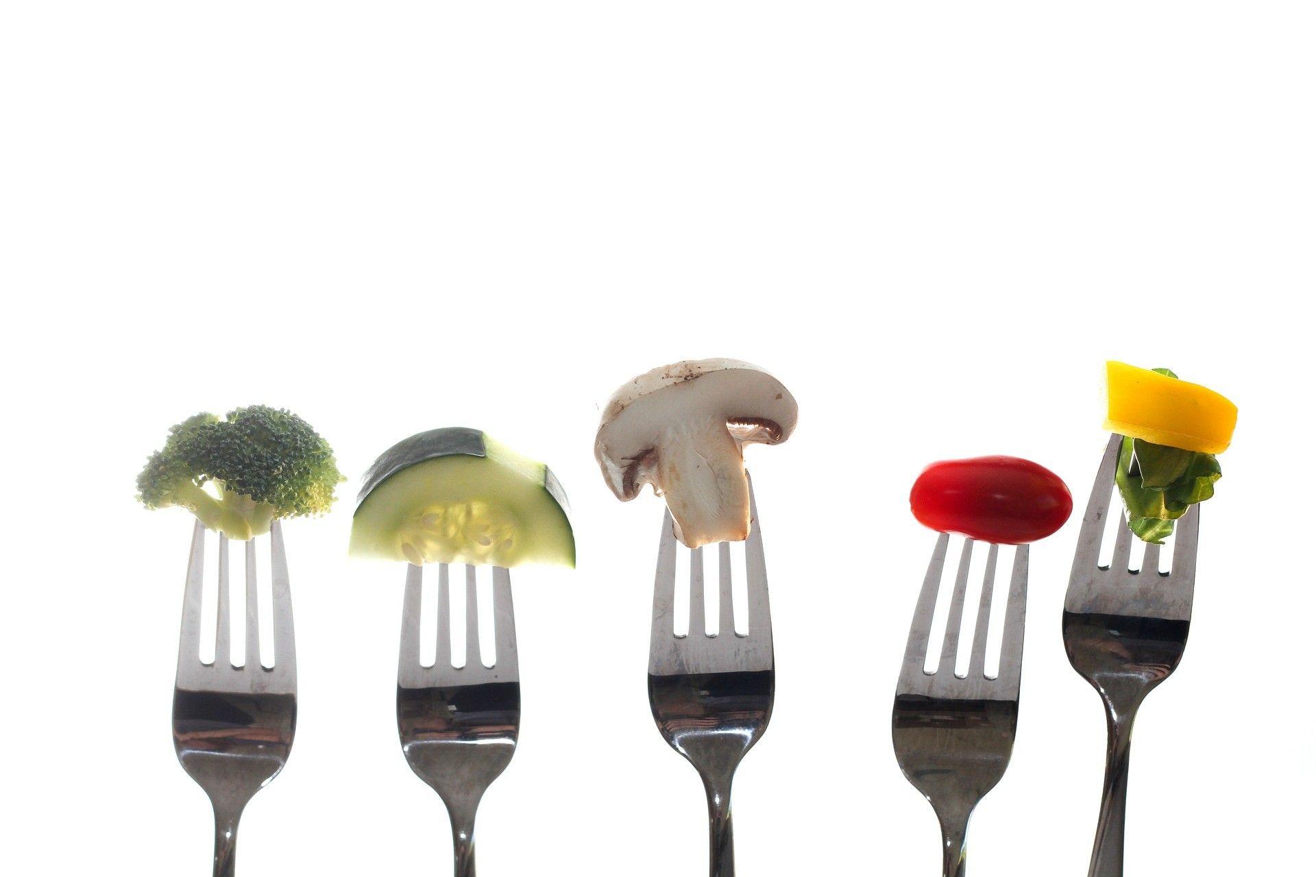 Fourchettes avec des légumes, forks with vegetables