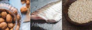 Allergènes prioritaires: noix, poisson et fruits de mer et sésame