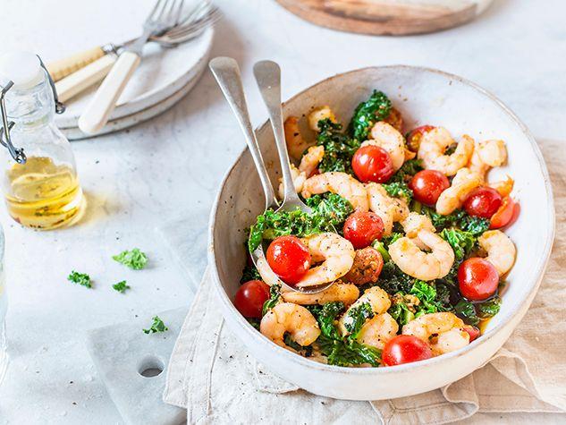 Crevettes et kale au four